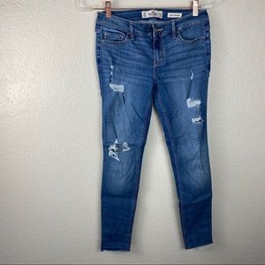 Hollister low rise super skinny distressed jeans